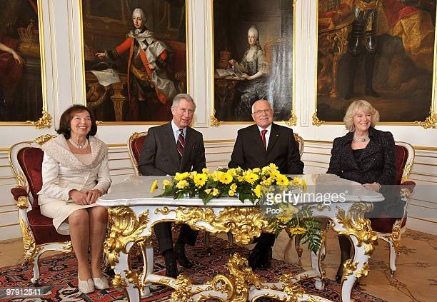 Prince Charles Prince of Wales Camilla Duchess of Cornwall and President of the Czech Republic Vaclav Klaus and his wife Livia Klausova pose for a...