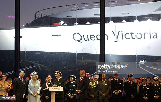 Prince Charles Prince of Wales Camilla Duchess of Cornwall and Captain Paul Wright attend the naming ceremony of the ocean liner Queen Victoria on...