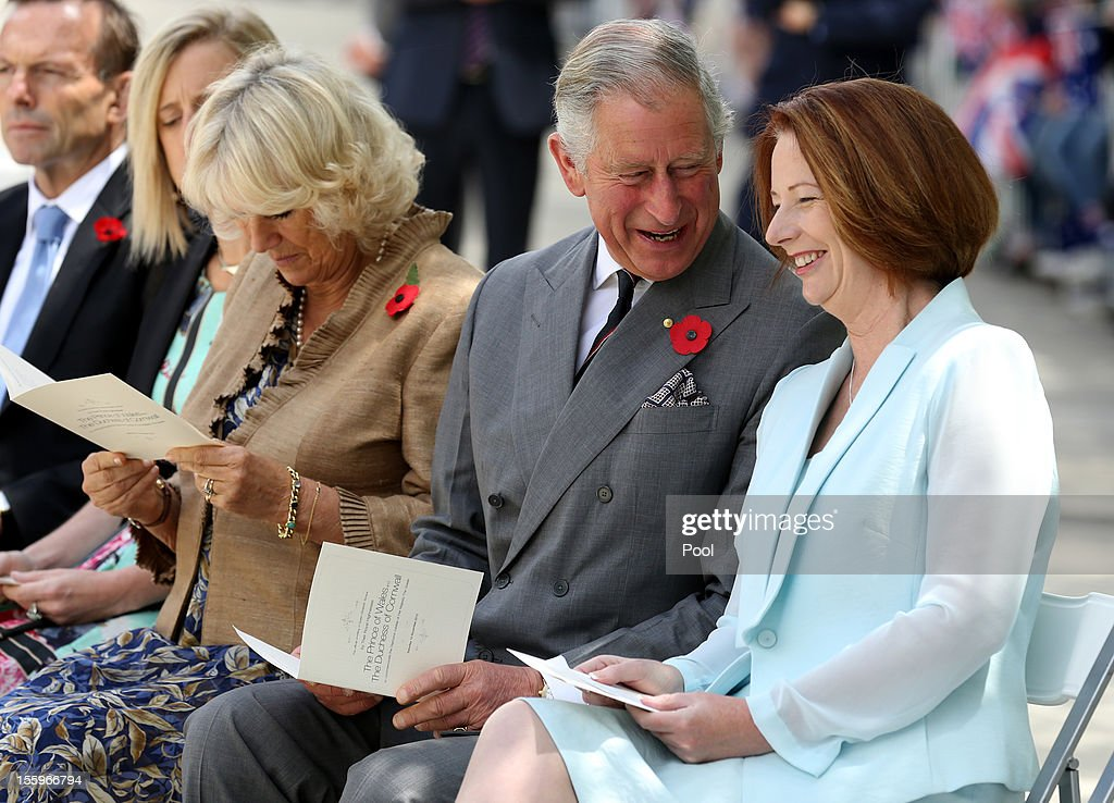 Prince Charles, Prince of Wales, <a gi-track='captionPersonalityLinkClicked' href=/galleries/search?phrase=Camilla+-+Hertiginna+av+Cornwall&family=editorial&specificpeople=158157 ng-click='$event.stopPropagation()'>Camilla</a>, Duchess of Cornwall and Australian Prime Minister <a gi-track='captionPersonalityLinkClicked' href=/galleries/search?phrase=Julia+Gillard&family=editorial&specificpeople=787281 ng-click='$event.stopPropagation()'>Julia Gillard</a> attend the naming of Queen Elizabeth Terrace at Parkes Place on November 10, 2012 in Canberra, Australia. The Royal couple are on the last day of the Australian leg of a Diamond Jubilee that takes in Papua New Guinea, Australia and New Zealand.
