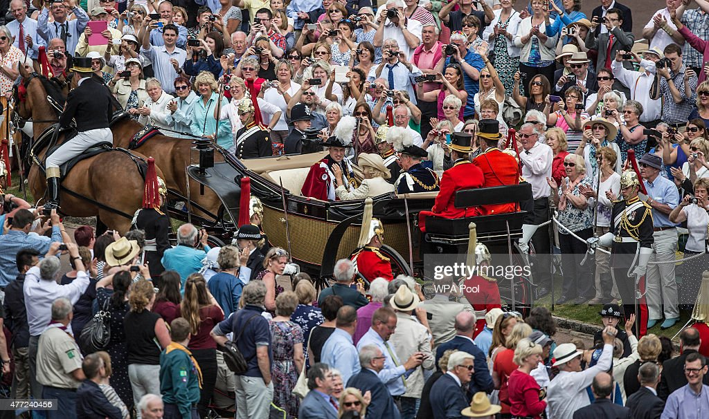 Prince Charles, Prince of Wales, Camilla, Duchess of Cornwall and Prince William, Duke of Cambridge leave the annual Order of the Garter Service at St George's Chapel in Windsor Castle on June 15, 2015 in Windsor, England. The Order of the Garter is the most senior and the oldest British Order of Chivalry and was founded by Edward III in 1348.