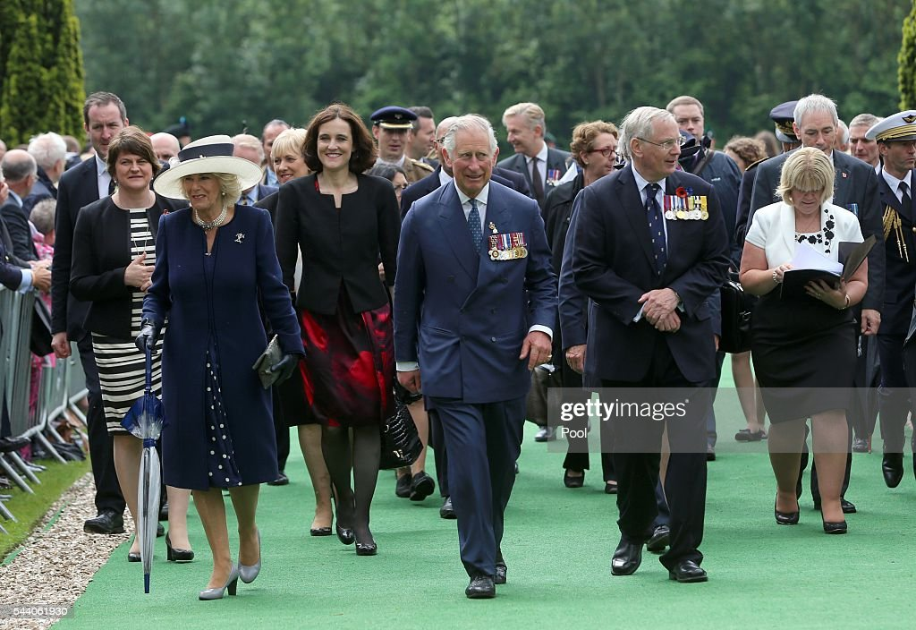 Prince Charles, Prince of Wales, Camilla, Duchess of Cornwall and the Duke of Gloucester arrive at the Ulster Memorial Tower during a service to mark the 100th anniversary of the start of the battle of the Somme on July 1, 2016 in Thiepval, France. The event is part of the Commemoration of the Centenary of the Battle of the Somme at the Commonwealth War Graves Commission Thiepval Memorial in Thiepval, France, where 70,000 British and Commonwealth soldiers with no known grave are commemorated.
