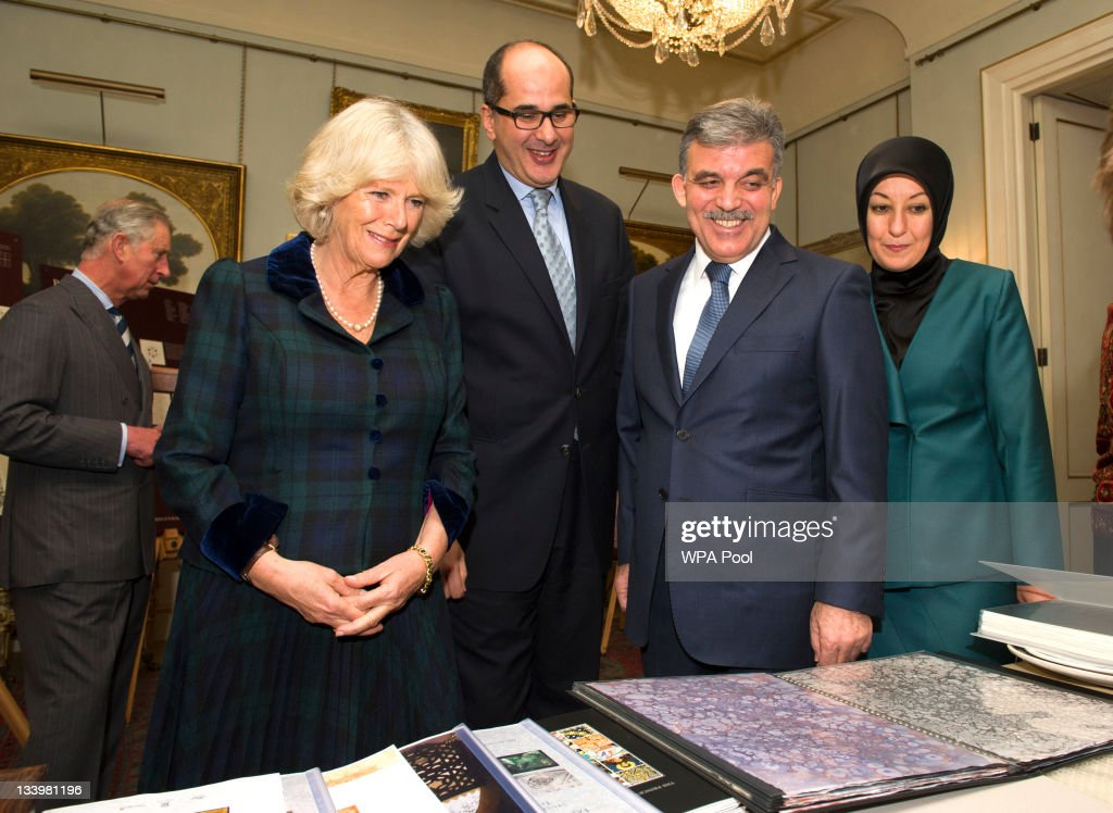 Prince Charles, Prince of Wales, Camilla, Duchess of Cornwall, guest, President of Turkey Abdullah Gul and his wife Hayrunnisa Gul during their visit to Clarence House on November 23, 2011 in London, England. The President and his wife viewed a display of the work of The Prince's Foundation for the Built Environment and then met students from The Prince's School of Traditional Arts.