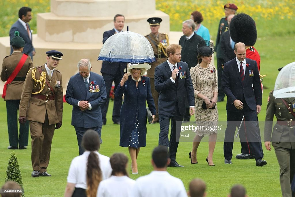 Prince Charles, Prince of Wales, Camilla, Duchess of Cornwall, Prince Harry, Catherine, Duchess of Cambridge and Prince William, Duke of Cambridge attend a service to mark the 100th anniversary of the beginning of the Battle of the Somme at the Thiepval memorial to the Missing on July 1, 2016 in Thiepval, France. The event is part of the Commemoration of the Centenary of the Battle of the Somme at the Commonwealth War Graves Commission Thiepval Memorial in Thiepval, France, where 70,000 British and Commonwealth soldiers with no known grave are commemorated.