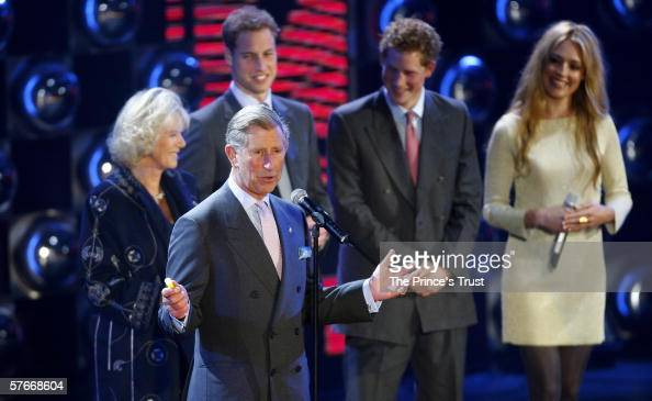 TRH Prince Charles Prince of Wales Camilla Duchess of Cornwall Prince William and Prince Harry speak on stage as presenter Cat Deeley looks on during...