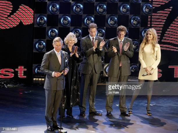 Prince Charles Prince of Wales Camilla Duchess of Cornwall Prince Harry and Prince William speak on stage as presenter Cat Deeley looks on during The...