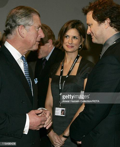 Prince Charles Prince of Wales chats to actor Colin Firth during a visit to the British Film Institute on October 29 2007 in London England