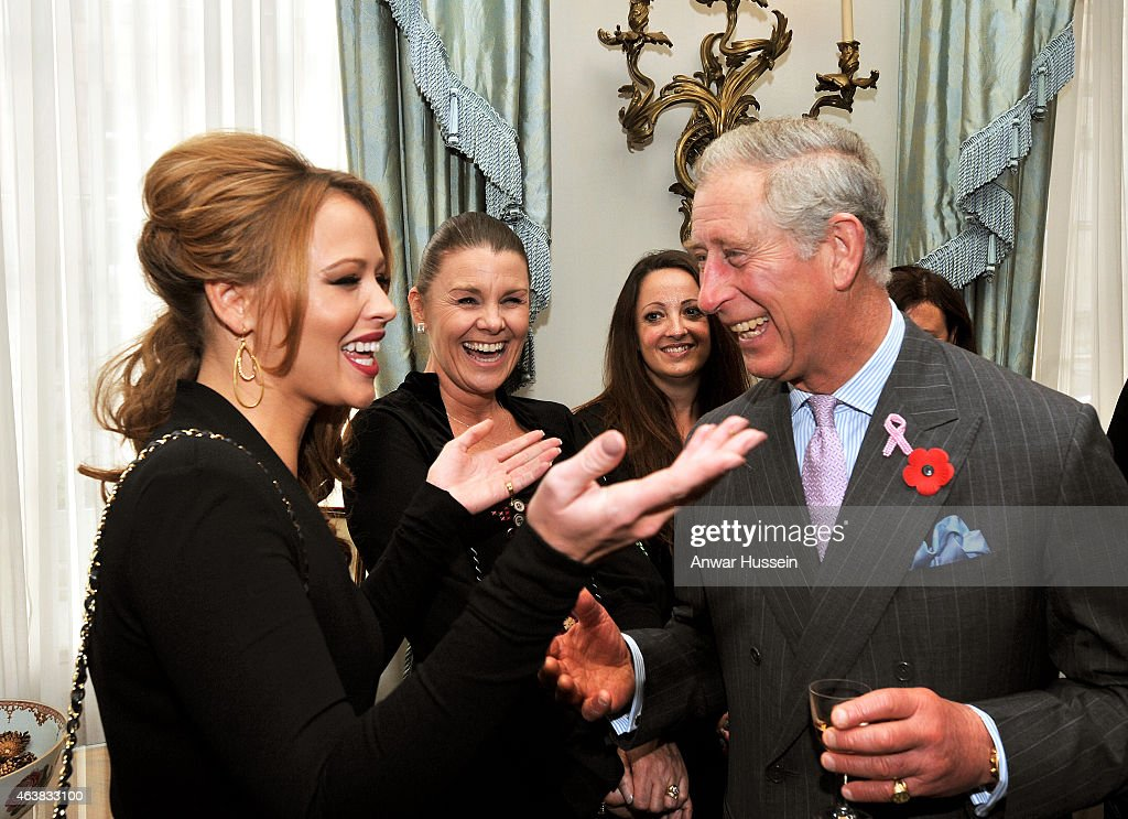 Prince Charles, Prince of Wales chats to Kimberley Walsh of girl band Girls Aloud during a Haven breast cancer charity 10th anniversary reception at Clarence House on November 02, 2010 in London, England.