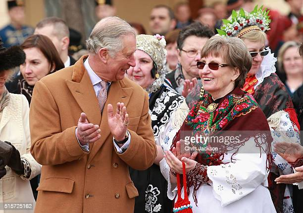 Prince Charles Prince of Wales chats to locals in the town square on March 15 2016 in Osijek Croatia The Prince and the Duchess are on the second day...