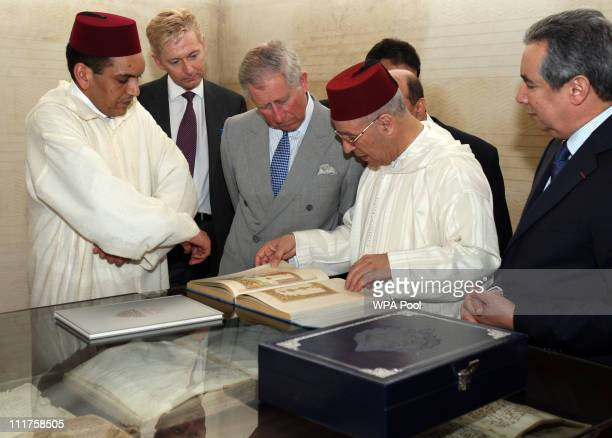 Prince Charles Prince of Wales chats to Minister of Waqf and Islamic affairs Ahmed Tawfiq during a visit to the Al Qarawiyyin library on April 6 2011...