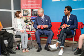 Prince Charles Prince of Wales chats with Amy Rawbone who has been helped by the Prince's Trust and Daniel Edmund who is a young ambassador in a...