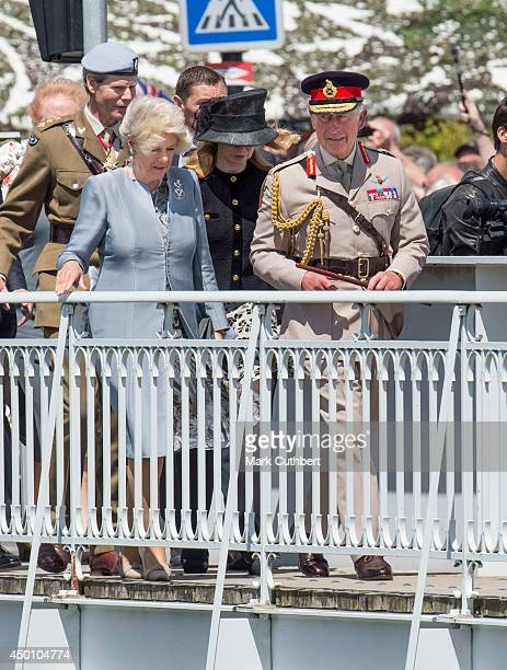 Prince Charles Prince of Wales ColonelinChief Army Air Corps and The Duchess of Cornwall visit Pegasus Bridge during the D Day 70 Commemoration on...