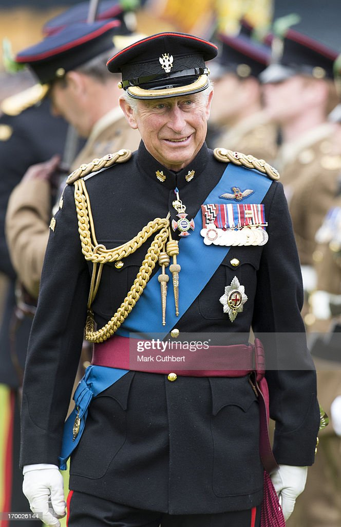 <a gi-track='captionPersonalityLinkClicked' href=/galleries/search?phrase=Prince+Charles+-+Prince+of+Wales&family=editorial&specificpeople=160180 ng-click='$event.stopPropagation()'>Prince Charles</a>, Prince of Wales, Colonel-in-Chief The Mercian Regiment presents New Colours to all four Battalions of the Regiment at Sixways Stadium on June 6, 2013 in Worcester, England.