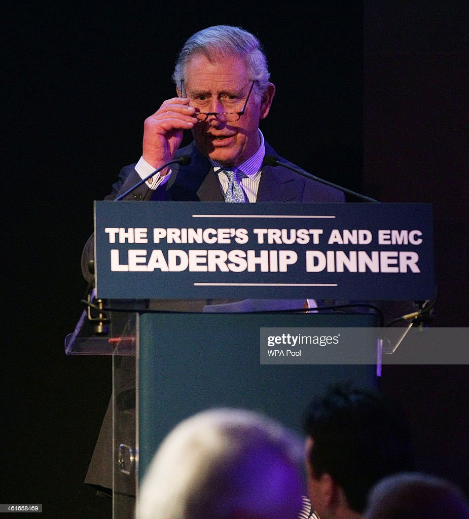 Prince Charles, Prince of Wales delivers a speech, during a leadership reception hosted by The Prince's Trust at The Royal Courts of Justice on January 23, 2014 in London, England.