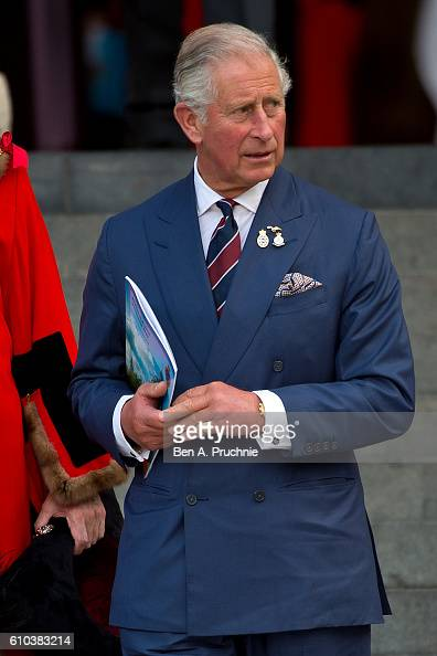Prince Charles Prince of Wales departs St Pauls Cathedral after the national police memorial day service at St Paul's Cathedral on September 25 2016...