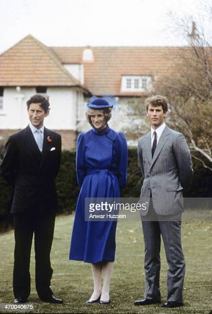 Prince Charles Prince of Wales and Diana Princess of Wales visit Prince Edward at the Wanganui Collegiate School where he is spending two terms as a...