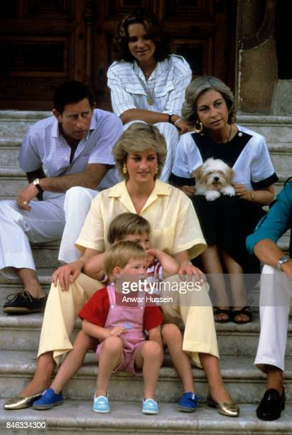 Prince William and Prince Harry pose on some steps with Prince Charles Prince of Wales and Princess Diana Princess of Wales and the Spanish Royal...