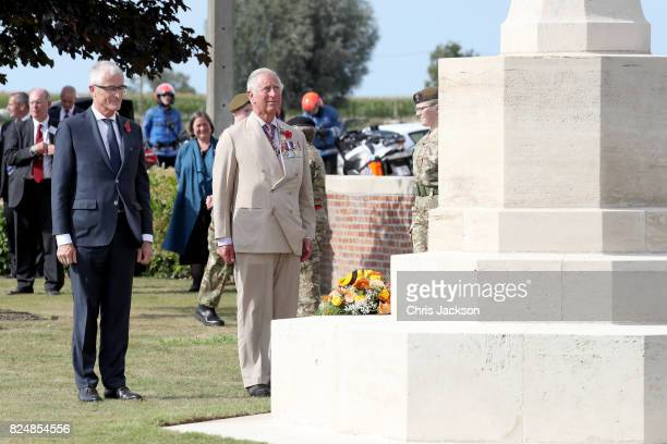 Prince Charles Prince of Wales during a visit to Artillery Wood Cemetery which includes the graves of poets Hedd Wyn Francis Ledwidge and where many...