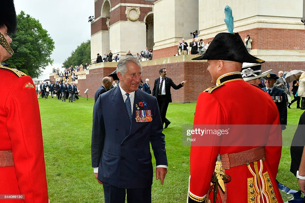 Prince Charles, Prince of Wales during the Commemoration of the Centenary of the Battle of the Somme at the Commonwealth War Graves Commission Thiepval Memorial on July 1, 2016 in Thiepval, France. The event is part of the Commemoration of the Centenary of the Battle of the Somme at the Commonwealth War Graves Commission Thiepval Memorial in Thiepval, France, where 70,000 British and Commonwealth soldiers with no known grave are commemorated.