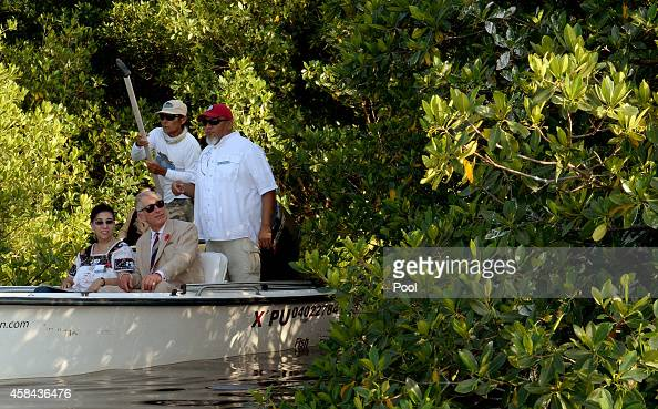 Prince Charles Prince of Wales exits the Mangrove Biosphere Reserve on November 4 2014 in Campeche Mexico The Royal Couple are on the third day of a...