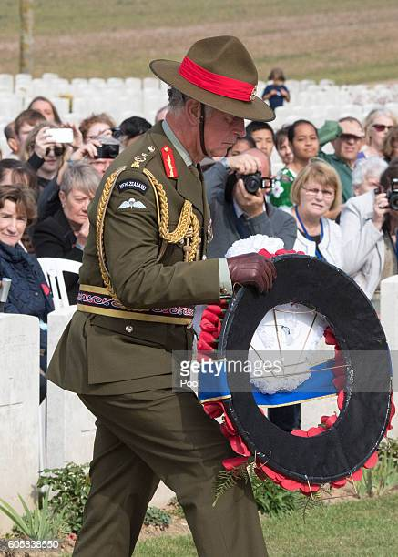 Prince Charles Prince of Wales Field Marshal of the New Zealand Army attends the New Zealand Somme Commemorations at the Caterpillar Valley...