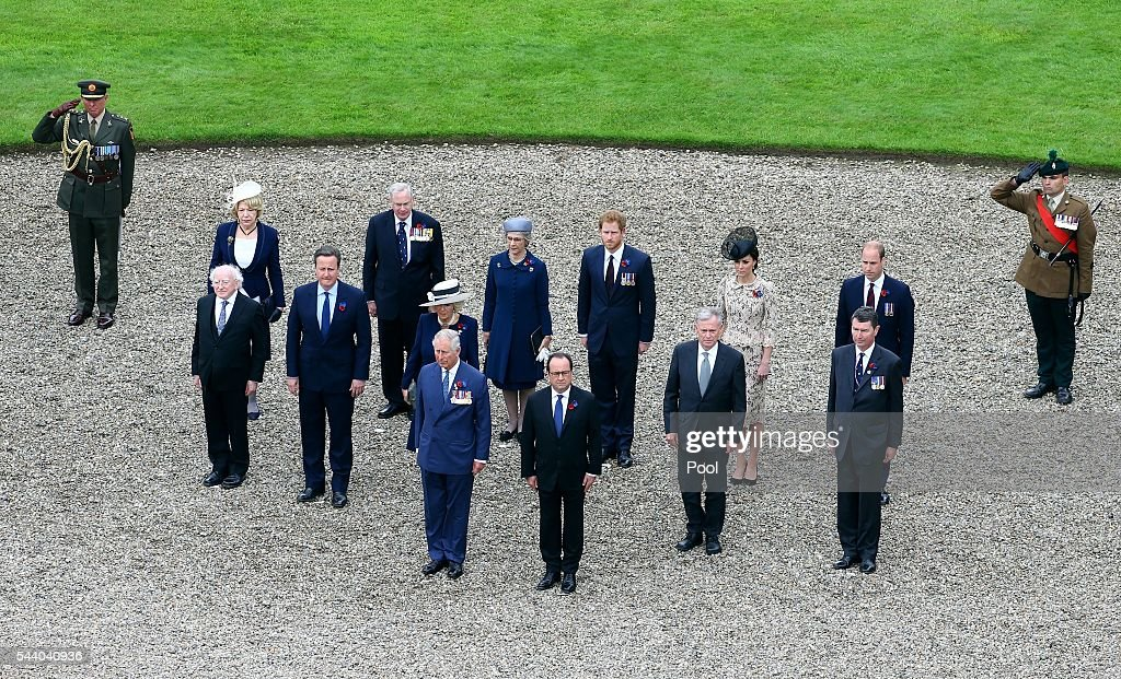 Prince Charles, Prince of Wales, French President Francois Hollande, Irish President Michael D Higgins, Prime Minister <a gi-track='captionPersonalityLinkClicked' href=/galleries/search?phrase=David+Cameron+-+Politician&family=editorial&specificpeople=227076 ng-click='$event.stopPropagation()'>David Cameron</a>, Camilla, Duchess of Cornwall, <a gi-track='captionPersonalityLinkClicked' href=/galleries/search?phrase=Prince+William&family=editorial&specificpeople=178205 ng-click='$event.stopPropagation()'>Prince William</a>, Duke of Cambridge and Catherine, Duchess of Cambridge and <a gi-track='captionPersonalityLinkClicked' href=/galleries/search?phrase=Prince+Harry&family=editorial&specificpeople=178173 ng-click='$event.stopPropagation()'>Prince Harry</a> attend a service to mark the 100th anniversary of the beginning of the Battle of the Somme at the Thiepval memorial to the Missing on July 1, 2016 in Thiepval, France. The event is part of the Commemoration of the Centenary of the Battle of the Somme at the Commonwealth War Graves Commission Thiepval Memorial in Thiepval, France, where 70,000 British and Commonwealth soldiers with no known grave are commemorated.