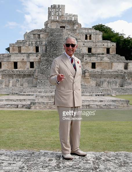 Prince Charles Prince of Wales gestures as he visits Edzna Maya archaeological site on November 4 2014 in Campeche Mexico The Royal Couple are on the...