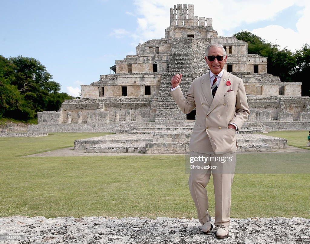 <a gi-track='captionPersonalityLinkClicked' href=/galleries/search?phrase=Prince+Charles&family=editorial&specificpeople=160180 ng-click='$event.stopPropagation()'>Prince Charles</a>, Prince of Wales gestures as he visits Edzna Maya archaeological site on November 4, 2014 in Campeche, Mexico. The Royal Couple are on the second day of a four day visit to Mexico as part of a Royal tour to Colombia and Mexico. The Duchess was scheduled to visit the site today but had to pull out due to health reasons.