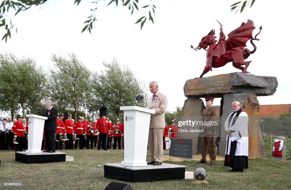 Prince Charles, Prince of Wales gives a reading as he attends the Welsh National Service of Remembrance at the Welsh National Memorial Park to mark the centenary of Passchendaele on July 31, 2017 in Ypres, Belgium. The commemorations mark the centenary of Passchendaele - The Third Battle of Ypres and the Welsh National Memorial is dedicated to all those from Wales who took part and lost their lives in the First World War. The memorial is comprised of a bronze dragon mounted on five Welsh Stones from a quarry in Pontypridd.