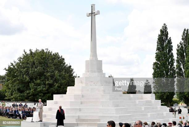 Prince Charles Prince of Wales gives a reading during a ceremony at the Commonwealth War Graves Commisions's Tyne Cot Cemetery on July 31 2017 in...