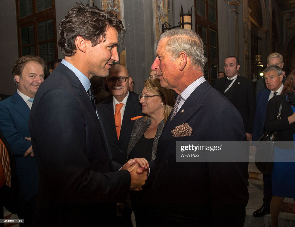 Prince Charles, Prince of Wales greets Canadian Prime Minister Justin Truedeau at a special reception at the Palace of the Grandmaster on November 26, 2015 in Valletta, Malta. The Prince of Wales launched the Prince's Trust International, a global extension of the United Kingdom's leading youth charity, The Prince's Trust.
