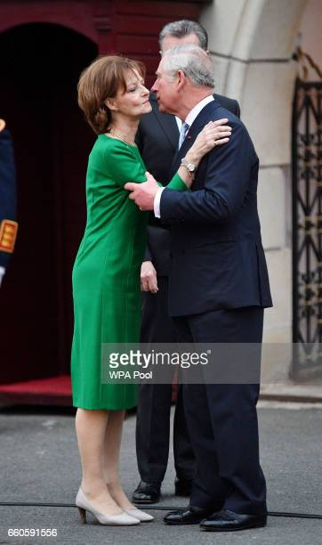 Prince Charles Prince of Wales greets Crown Princess Margareta of Bucharest during a Tea with the Romanian Royal Family on the second day of his nine...