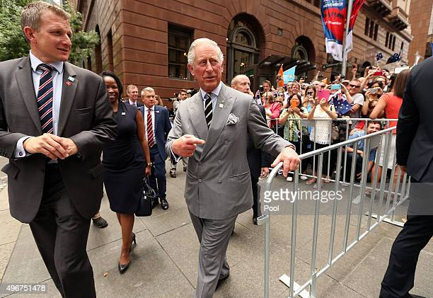Prince Charles Prince of Wales greets members of the public during a visit to Martin Place on November 12 2015 in Sydney Australia The Royal couple...