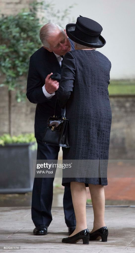 Prince Charles, Prince of Wales greets Queen Elizabeth II at the funeral service of Patricia Knatchbull, Countess Mountbatten of Burma at St Paul's Church in Knightsbridge on June 27, 2017 in London, England.