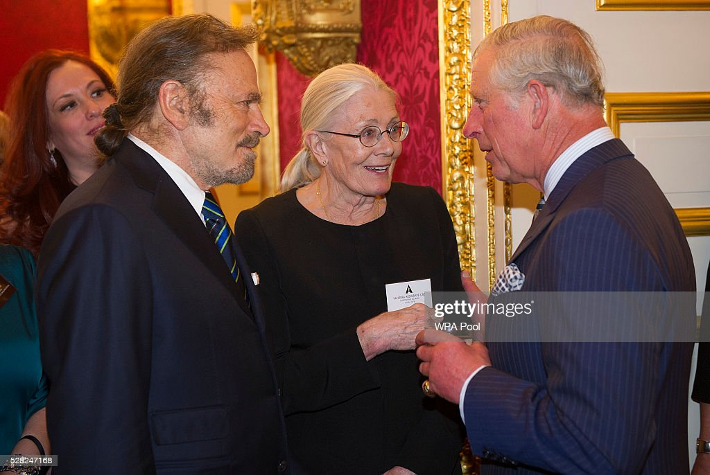 Prince Charles, Prince of Wales greets Vanessa Redgrave and her husband Franco Nero during a reception at St James's Palace for British Oscar winners on May 4, 2016 in London, United Kingdom.