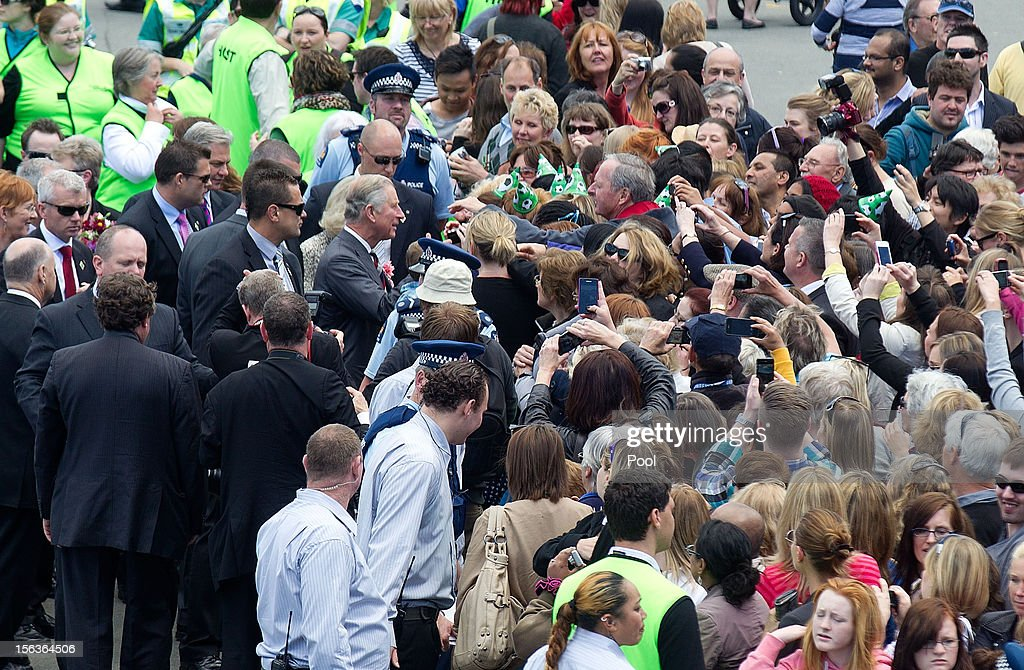 Prince Charles, Prince of Wales greets wellwishers during a walkabout along the wharf waterfront on November 14, 2012 in Wellington, New Zealand. The Royal couple are in New Zealand on the last leg of a Diamond Jubilee that takes in Papua New Guinea, Australia and New Zealand.