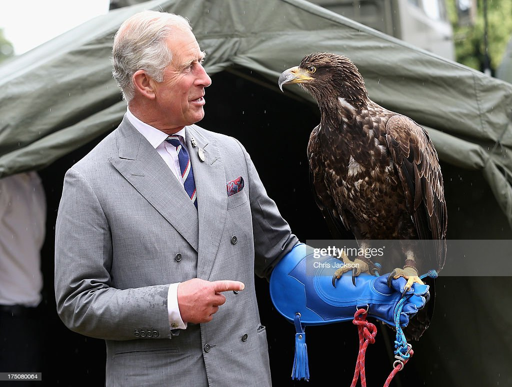 Prince Charles Prince of Wales holds a bald eagle called Zephyr during a visit to the 132nd Sandringham Flower Show at Sandringham House on July 31...