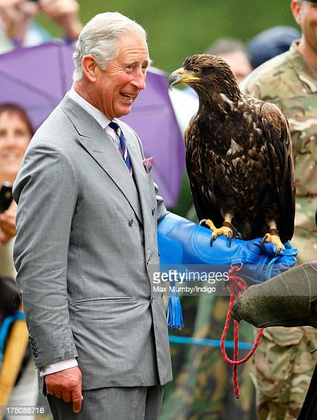 Prince Charles Prince of Wales holds a Bald Eagle called Zephyr as he and Camilla Duchess of Cornwall visit the 132nd Sandringham Flower Show at...