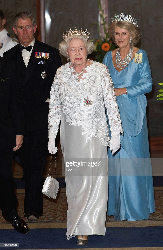 Prince Charles, Prince of Wales, HRH Queen Elizabeth II and Camilla, Duchess of Cornwall arrive at the Serena Hotel for The Queen's Banquet for Commonwealth Heads of Government on November 23, 2007 in Kampala, Uganda. The Duchess is in Uganda with The Prince of Wales during the Commonwealth Heads of Govenment Meeting. CHOGM will be attended by over 5000 delegates, The Queen as well as UK Prime Minister Gordon Brown.