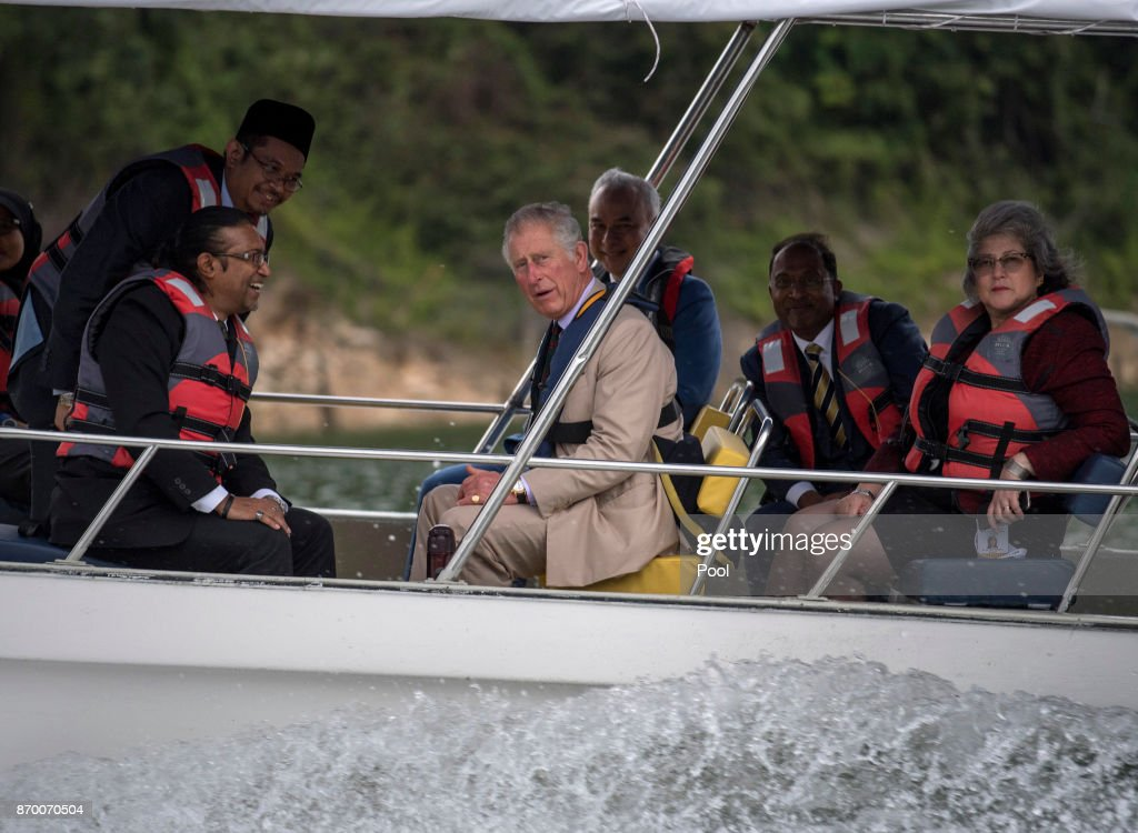Prince Charles, Prince of Wales in a boat during a visit to Temenggor Lake where he heard about the area's biodiversity and wildlife as well as the efforts to prevent poaching, on November 04, 2017 in Perak, Malaysia.