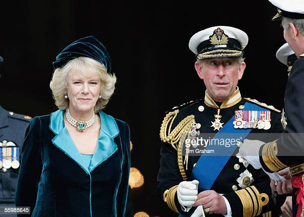 Prince Charles Prince of Wales in naval uniform and his wife Camilla Duchess of Cornwall are seen outside St Paul's Cathedral for a service to mark...