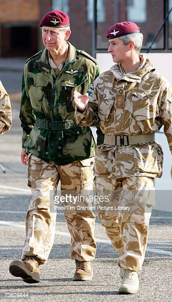 Prince Charles Prince of Wales in uniform as Colonel in Chief of the Parachute Regiment visits the 3rd Battalion Parachute Regiment in the Hyderabad...