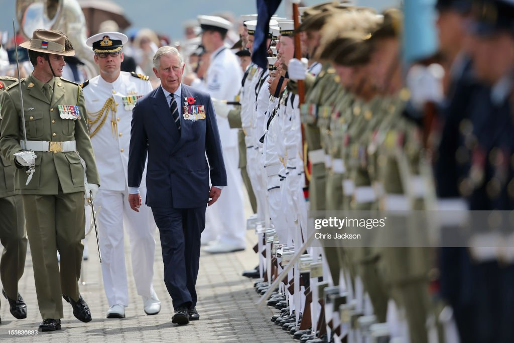<a gi-track='captionPersonalityLinkClicked' href=/galleries/search?phrase=Prince+Charles&family=editorial&specificpeople=160180 ng-click='$event.stopPropagation()'>Prince Charles</a>, Prince of Wales inspects a royal guard at Garden Island Naval Base on November 9, 2012 in Sydney, Australia. The Royal couple are in Australia on the second leg of a Diamond Jubilee Tour taking in Papua New Guinea, Australia and New Zealand.