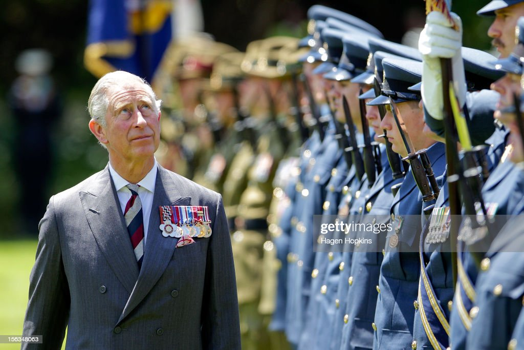Prince Charles, Prince of Wales inspects the guard at Government House on November 14, 2012 in Wellington, New Zealand. The Royal couple are in New Zealand on the last leg of a Diamond Jubilee that takes in Papua New Guinea, Australia and New Zealand.