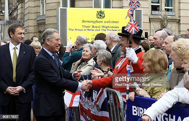 Prince Charles Prince of Wales is greeted by a large crowd during a visit to reopen Birmingham's refurbished Town Hall on April 22 2008 in Birmingham...