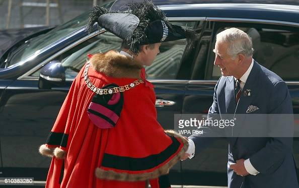 Prince Charles Prince of Wales is greeted by Lord Mayor of London Jeffrey Evans as he attends the National Police Memorial Service at St Paul's...