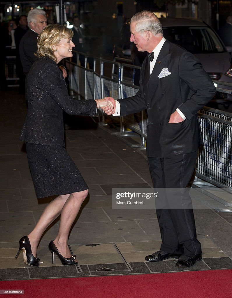 Prince Charles, Prince of Wales is greeted by Madeleine Lloyd Webber as he attends the Royal Variety Performance at London Palladium on November 25, 2013 in London, England.