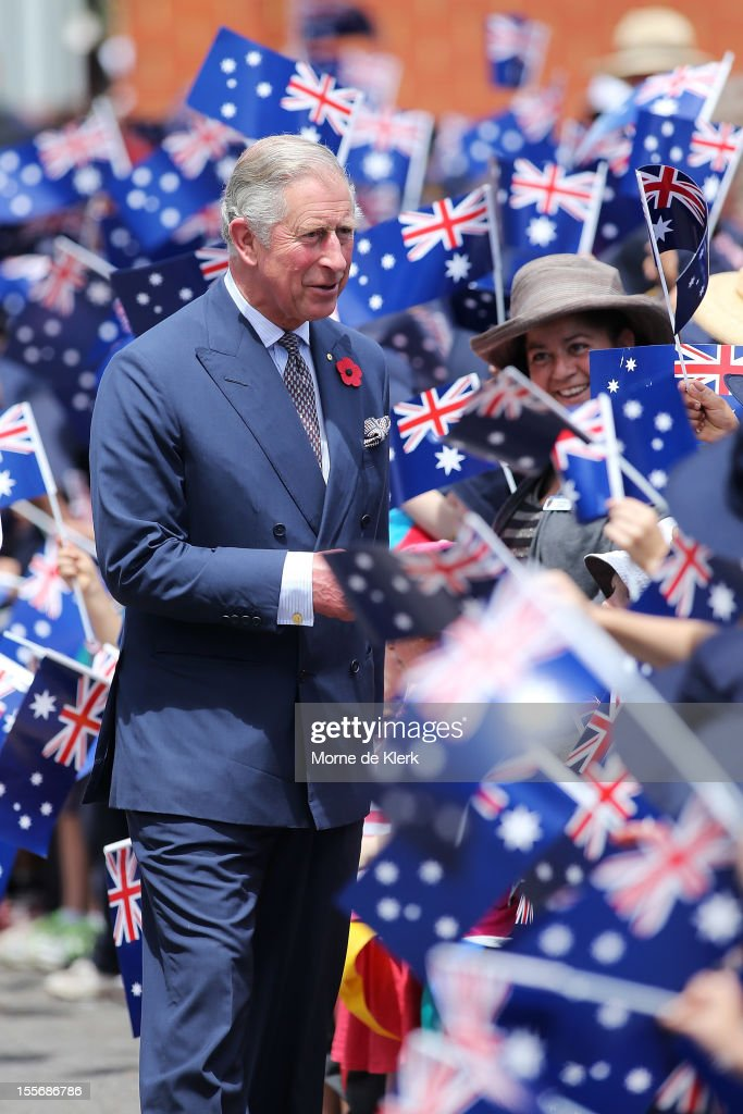 <a gi-track='captionPersonalityLinkClicked' href=/galleries/search?phrase=Prince+Charles&family=editorial&specificpeople=160180 ng-click='$event.stopPropagation()'>Prince Charles</a>, Prince of Wales is greeted by school children during a visit to Kilkenny Primary School on November 7, 2012 in Adelaide, Australia. The Royal couple are in Australia on the second leg of a Diamond Jubilee Tour taking in Papua New Guinea, Australia and New Zealand.