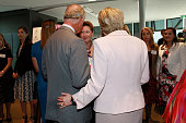 Prince Charles Prince of Wales is guided by Janine Kirk during the Skills for Psychological Recovery Roundtable meeting on November 12 2015 in Sydney...