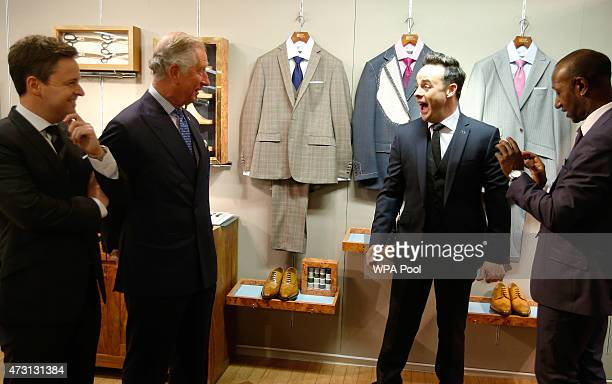 Prince Charles Prince Of Wales is joined by TV personalities Anthony McPartlin and Declan Donnelly during a Prince's Trust 'Make your Mark' visit to...
