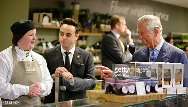 Prince Charles Prince Of Wales is joined by TV personality Anthony McPartlin during a Prince's Trust 'Make your Mark' visit to retailer Marks and...